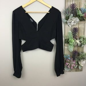 Bebe sexy long sleeve cropped Top